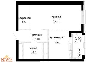 1-комн. квартира 35,83 м², ЖК NOVA CITY