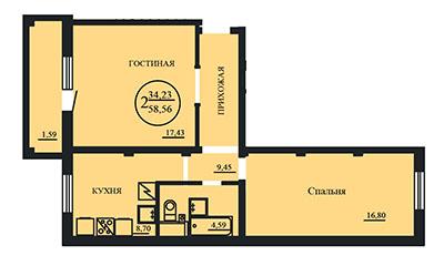 2-комнатные от 58,56 м²