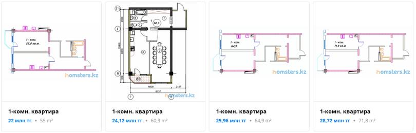 Квартиры - ЖК Алтынсарин