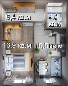1-комн. квартира 42 м², ЖК GRES PARK