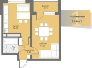 Однокомнатная квартира в Многоквартирный жилой дом в мкр. Алгабас